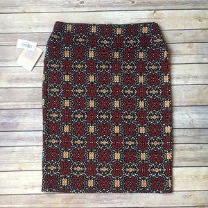 LuLaRoe Skirts - LuLaRoe Cassie Skirt | Red Black Mustard & White